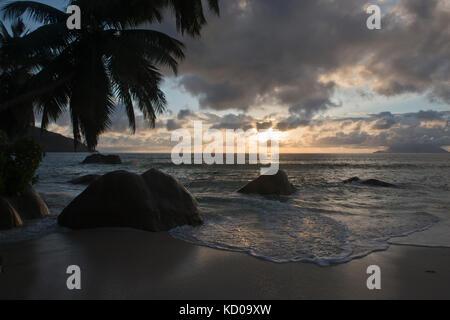 Sunset on the beach, Beau Vallon, Mahe, Seychelles - Stock Photo