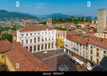 View of Piazza Vecchia from the old town tower Campanone Torre Civica, Bergamo, Province of Bergamo, Lombardy, Italy - Stock Photo