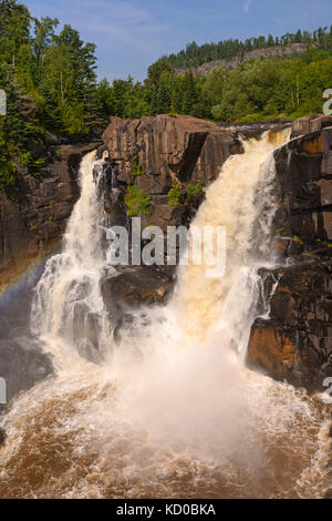 High Falls of the Pigeon River in Ontario - Stock Photo