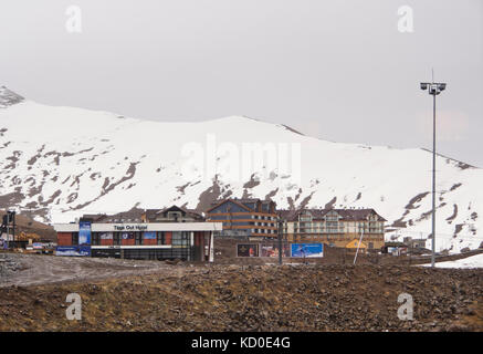Gudauri ski resort in the high Caucasus mountains in Georgia along the Military highway and near the Russian border, - Stock Photo