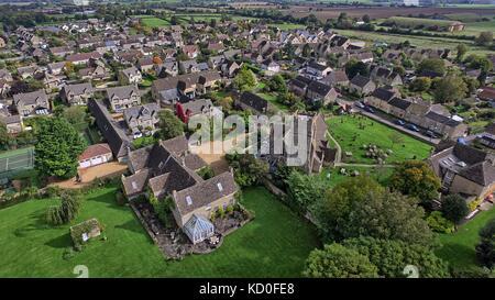 Aerial view of Hullavington - Stock Photo