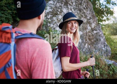 Couple hiking, smiling, Krakow, Malopolskie, Poland, Europe - Stock Photo