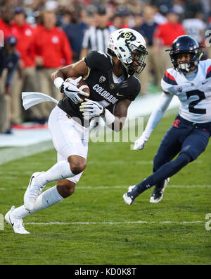 October 7, 2017: Colorado wide receiver Bryce Bobo looks for room to run after the catch against Arizona. The Wildcats - Stock Photo