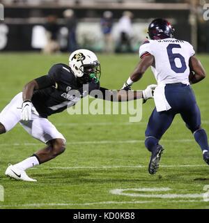 October 7, 2017: Arizona wide receiver Shun Brown evades Colorado defender Afolabi Laguda in the first half. The - Stock Photo