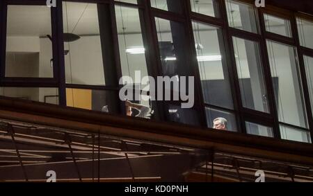German Minister of the Interior Thomas de Maiziere (R) is sitting in the CDU headquarter in the Konrad Adenauer - Stock Photo