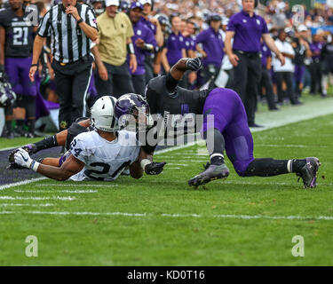 Saturday October 7th - Northwestern Wildcats safety Godwin Igwebuike (16) was flagged for targeting on this play - Stock Photo