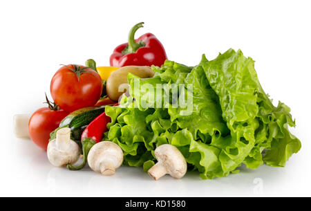 Fresh raw vegetables and lettuce isolated on white background - Stock Photo