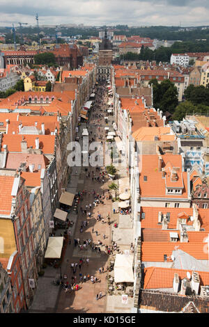 Aerial view along ul. Dluga, viewd from the clock tower of the Main Town Hall, Gdansk, Poland. - Stock Photo