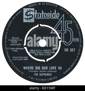 45 RPM 7' UK record label of Where Did Our Love Go by The Supremes on the Stateside label from 1964. The Supremes - Stock Photo