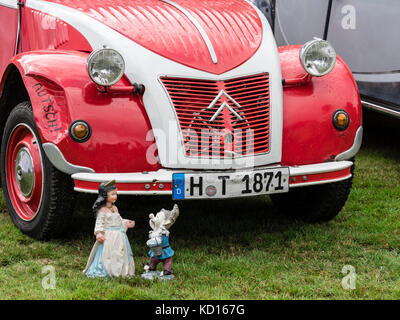 Citroen 2CV, doll, oldtimer presentation at charity event, Celle, Germany - Stock Photo