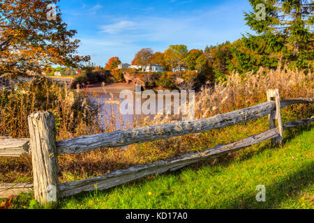 View from Salmon River Road, St. Martin's, low tide, Bay of Fundy, New Brunswick, Canada - Stock Photo