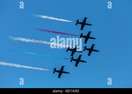 The United States Navy airplanes perform during the Fleet Week airshow performance in San Francisco, California. - Stock Photo