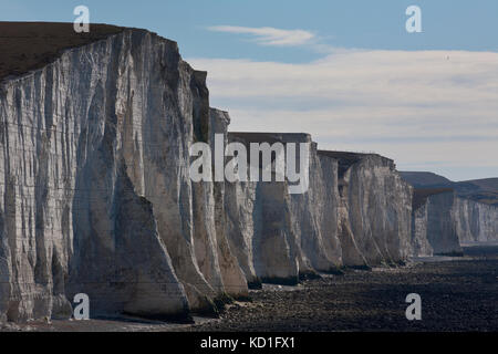 Cuckmere Estuary, Cuckmere Haven, area of flood plains in East Sussex, nature reserve overlooking the Seven Sisters - Stock Photo