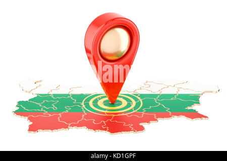 Map pointer on the map of Bulgaria, 3D rendering isolated on white background - Stock Photo