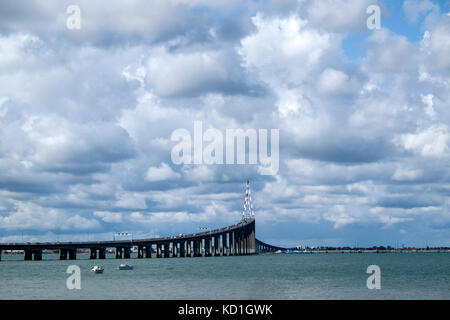 Pont de St Nazaire road bridge, spans the River Loire between St Nazaire and St Brevin les Pins - Stock Photo