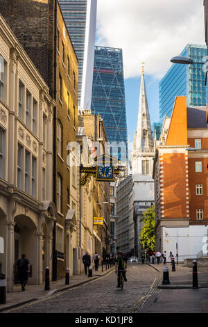 View looking up St Mary at Hill, City of London ancient lane, London, UK - Stock Photo