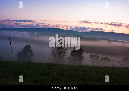 Red misty landscape panorama in mountains. Fantastic dreamy sunrise on forest mountains with view down to foggy - Stock Photo