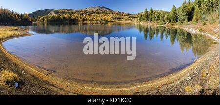 Larix Lake Autumn Panoramic Landscape on Great Hiking Trail in Sunshine Meadows Banff National Park Canadian Rockies - Stock Photo