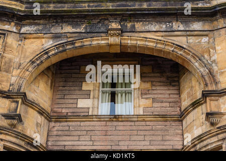 Detail of some windows along the streets of Inverness Old Town in Scotland. - Stock Photo