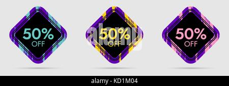 50% Off Discount Sticker. 50% Off Sale and Discount Price Banner. Vector Frame with Grunge and Price Discount Offer - Stock Photo