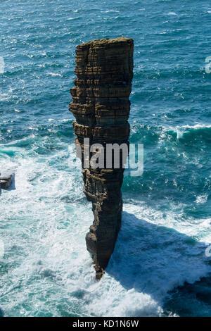 The North Gaulton Castle sea stack, Yesnaby, Orkney Mainland, Scotland, UK. - Stock Photo