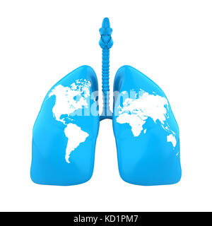 Lung with World Map Isolated - Stock Photo