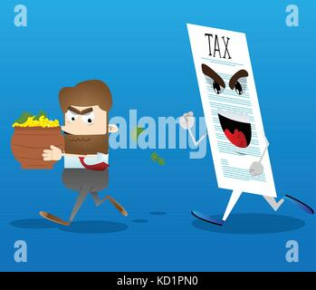 Business office worker running away from tax with a pot of money in his hands. Vector cartoon illustration. - Stock Photo