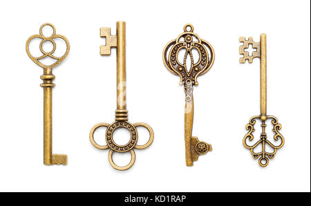 Vinage Antique Old Keys Isolated on a White Background. - Stock Photo