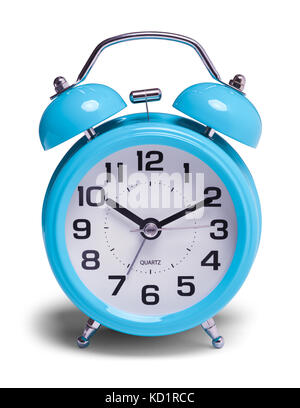 Retro Blue Alarm Clock Front View Isolated on a White Background. - Stock Photo