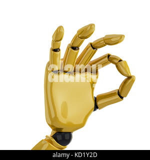 a 3d robotic hand giving the 'okay' sign. Including clipping path. - Stock Photo