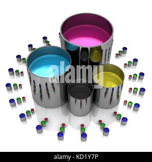 Paint cans on a white background - Stock Photo