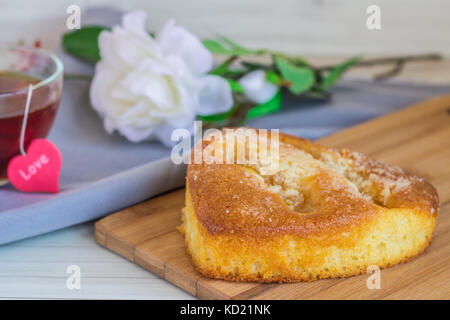 Homemade Organic Apple Pie Dessert Ready to Eat on a wooden table. - Stock Photo