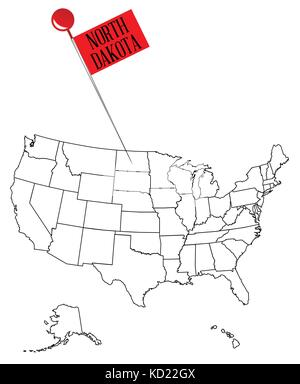 Worksheet. An outline map of USA with a knob pin in the state of Ohio Stock