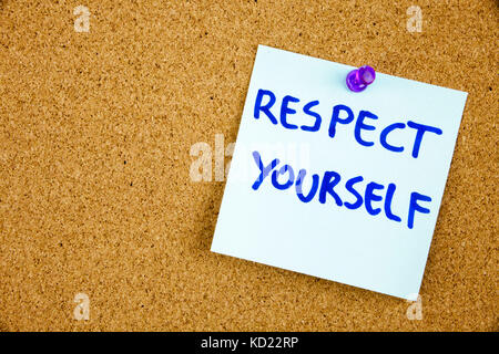 The phrase Respect Yourself in red text on a lined index card pinned to a cork notice board as reminder. Businnes - Stock Photo