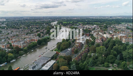 Aerial view over residential Victorian villages by the river Thames in West London - Stock Photo