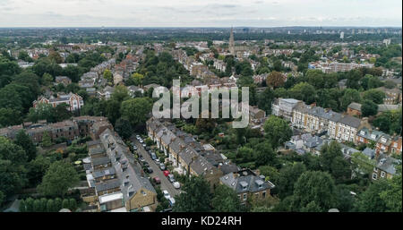 Aerial view over a residential Victorian village in West London - Stock Photo