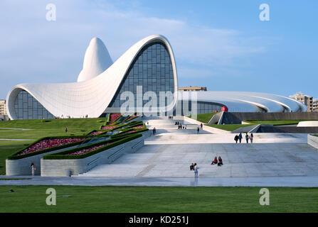 Baku, Azerbaijan : Heydar Aliyev Centre building complex designed by Iraqi-British architect Zaha Hadid. - Stock Photo
