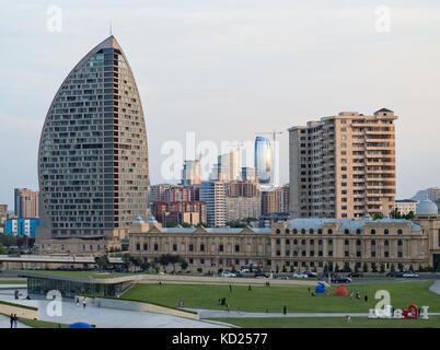 Modern architecture of Baku, Azerbaijan, in front of Heydar Aliyev centre - Stock Photo
