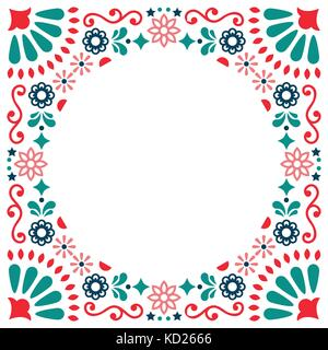 Mexican folk vector greeting card, wedding or party invitation decoration, floral and abstract border, frame - Stock Photo