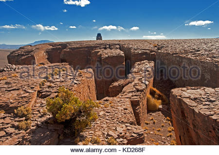 rock formations at the foot of the uturuncu volcano, south licep, bolivia, south america - Stock Photo