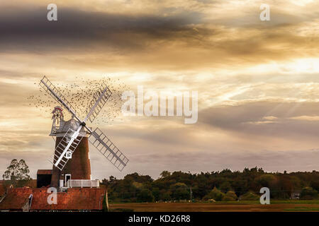 Cley Windmill is a grade II listed five storey tower mill located on the North Norfolk coast dating from the 18th - Stock Photo