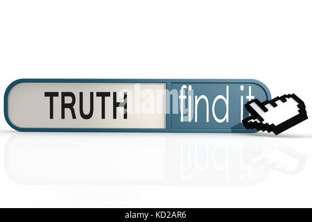 Truth word on the blue find it banner image with hi-res rendered artwork that could be used for any graphic design. - Stock Photo