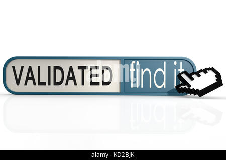 Validated word on the blue find it banner image with hi-res rendered artwork that could be used for any graphic - Stock Photo