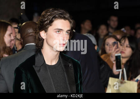 London, UK. 9th Oct, 2017. Timothée Chalamet arrives for the UK film premiere of 'Call Me By Your Name' at Odeon - Stock Photo