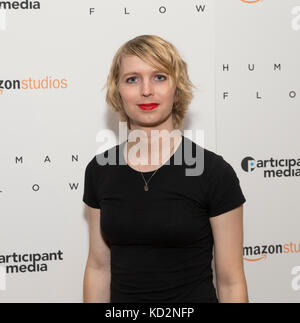 New York, United States. 09th Oct, 2017. New York, NY - October 9, 2017: Chelsea Manning attends Human Flow special - Stock Photo