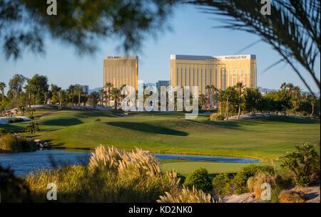 Las Vegas, NV, USA. 9th Oct, 2017. Signage on the Las vegas Strip around Mandalay Bay resort one week after the - Stock Photo