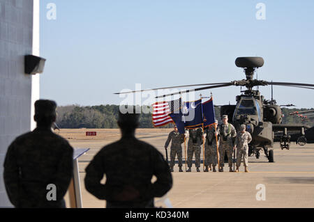 U.S. Army National Guard Soldiers stand in formation in front of the Army Aviation flight facility at McEntire Joint - Stock Photo