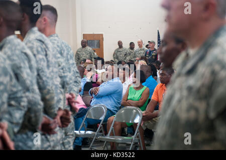 Soldiers and families from the 351st Aviation Support Battalion, South Carolina Army National Guard, attend a departure - Stock Photo