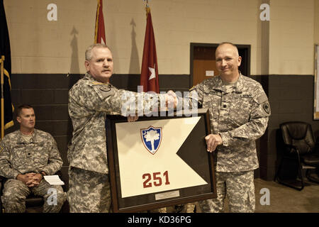 The 251st and 51st Rear Operations Centers (ROC), South Carolina Army National Guard (SCARNG), cased their unit - Stock Photo