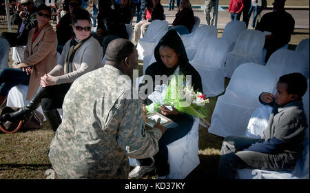 Members of the South Carolina National Guard along with family and friends join Soldiers from the 1221st Route Clearance - Stock Photo